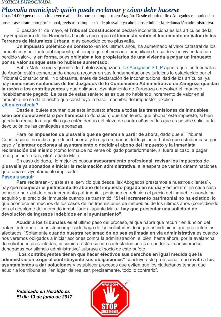 Plusval a municipal qui n puede reclamar y como debe for Clausula suelo quien puede reclamar